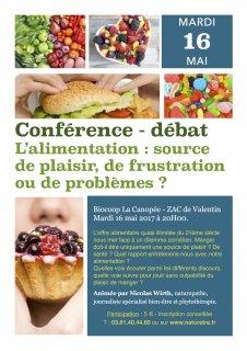 Conférence-débat : l'alimentation, source de plaisir, de frustration, de problème, de santé ?
